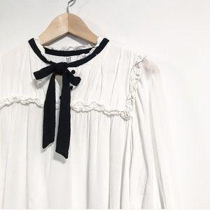 Zara. Bow necktie. Button up ruffle blouse